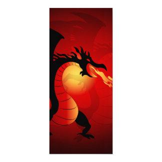 Lustiger schwarzer Drache, der heraus Feuer spuckt 10,2 X 23,5 Cm Einladungskarte