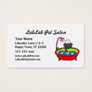Lustiger schwarzer Labrador-Cartoon-Haustier-Salon Visitenkarte