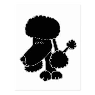 Lustiger schwarzer Pudel-Welpen-HundeCartoon Postkarte