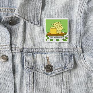Lustiger Schweizer Armee-Käse-Cartoon-Knopf Quadratischer Button 5,1 Cm