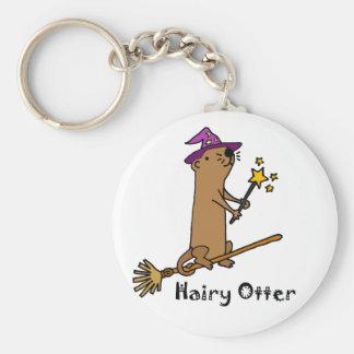 Lustiger Seeotter-Zauberer-Cartoon Schlüsselanhänger