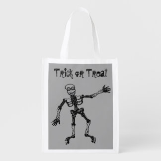 Lustiger Skeleton Trick oder Leckerei Wiederverwendbare Einkaufstasche
