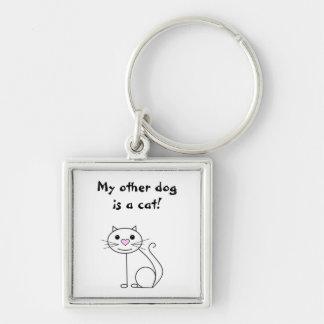 Lustiger Slogan der niedlichen Stock-Cartoon-Katze Silberfarbener Quadratischer Schlüsselanhänger