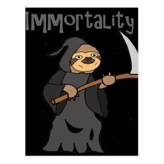 Lustiger Sloth-grimmiger Sensenmannunsterblichkeit Postkarte
