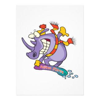lustiger Snowboarder Snowboarding Rhino-Cartoon Ankündigungskarten