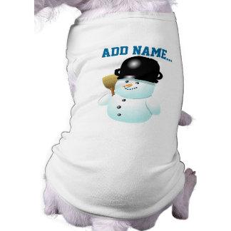Lustiger Snowman-Cartoon mit Ihrem eigenen Text Ärmelfreies Hunde-Shirt
