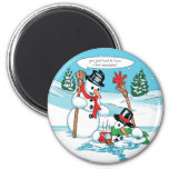 Lustiger Snowman mit heiße Schokoladen-Cartoon Magnets