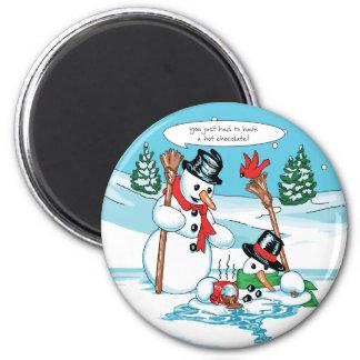 Lustiger Snowman mit heiße Schokoladen-Cartoon Runder Magnet 5,1 Cm