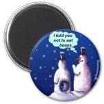 Lustiger Snowmen-Cartoon Runder Magnet 5,1 Cm