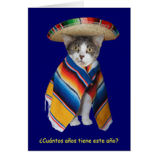 Lustiger spanischer Katzen-/Miezekatze-Geburtstag Karten