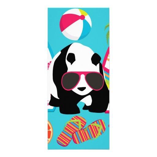 Lustiger surfende Panda-Bärn-Strand-Gammler-coole Individuelle Einladung