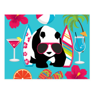 Lustiger surfende Panda-Bärn-Strand-Gammler-coole Postkarte