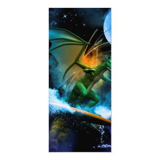 Lustiger surfender Drache 10,2 X 23,5 Cm Einladungskarte