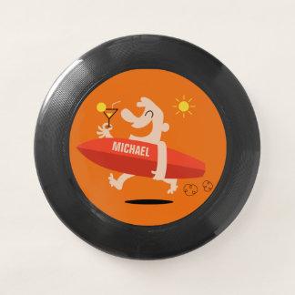 Lustiger Surfer mit Cocktail-individueller Name Wham-O Frisbee