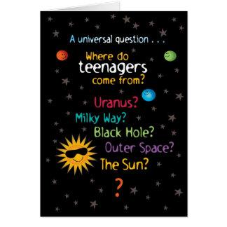 Lustiger/süßer Raum-Teenager-Geburtstag Grußkarte
