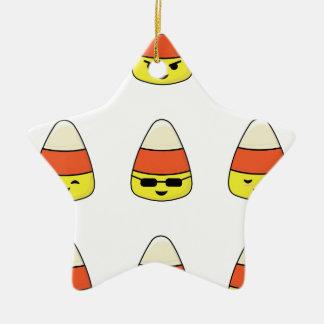 Lustiger Süßigkeits-Mais Emoji Keramik Ornament