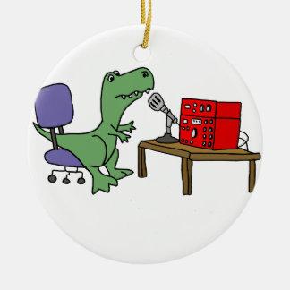 Lustiger T-rex Dinosaurier auf Amateurfunk Rundes Keramik Ornament