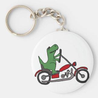 Lustiger T-rex Dinosaurier auf rotem Motorrad Schlüsselanhänger