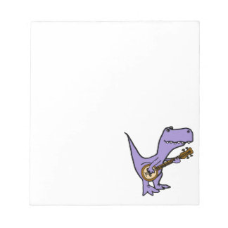 Lustiger T-rex Dinosaurier, der Banjo spielt Notizblock