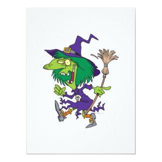 lustiger Tanzenhexe-Halloween-Cartoon Personalisierte Ankündigungskarten