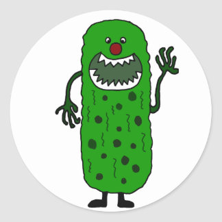 Lustiger Tickle-Monster-Cartoon Runder Aufkleber