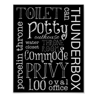 Lustiger Toiletten-Badezimmer-Zeichen-Plakat-Druck Poster