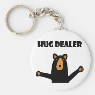 Lustiger Umarmungs-Händler-schwarzer Bär Schlüsselanhänger
