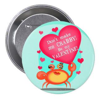 Lustiger Valentinsgruß-Krabben-Knopf