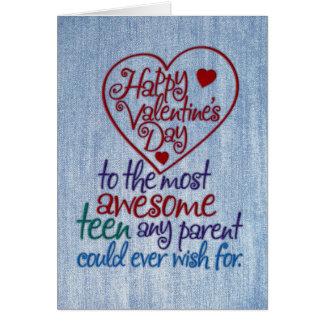 Lustiger Valentinstag zu jugendlich vom Elternteil Karte