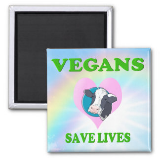 Lustiger Vegetarier/Vegans retten die Leben Quadratischer Magnet