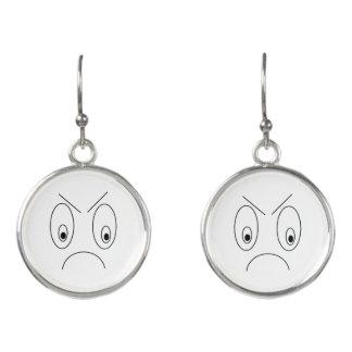 Lustiger verärgerter Gesichts-Druck Schwarzweiss Ohrringe