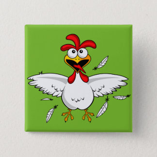 Lustiger verrückter Cartoon-HühnerflügelFling Quadratischer Button 5,1 Cm