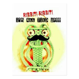 Lustiger Vintager grüner Frosch-Schnurrbart werde Postkarte
