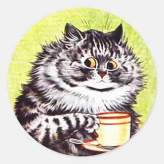 Lustiger Vintager Katzen-Aufkleber, Katzen Louis Runder Aufkleber