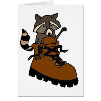 Lustiger Waschbär, wenn Stiefel gewandert wird Grußkarte