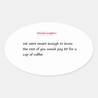 Lustiger Washington-Aufkleber, oval Ovaler Aufkleber