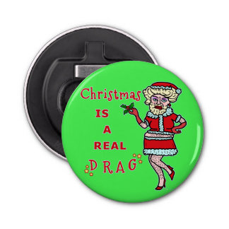 Lustiger WeihnachtenBah Humbug Sankt im Widerstand Runder Flaschenöffner