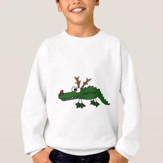 Lustiger Weihnachtsalligator als Ren Sweatshirt