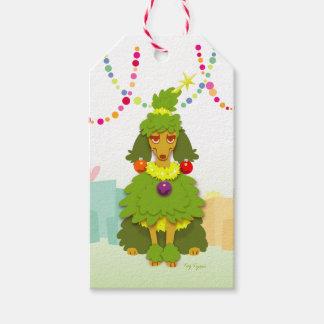 Lustiger Weihnachtsbaum-Pudel Geschenkanhänger