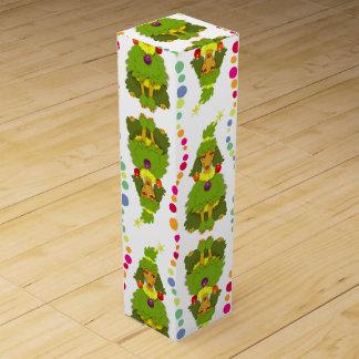 Lustiger Weihnachtsbaum-Pudel Wein-Geschenkverpackung