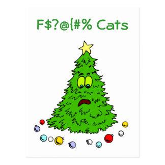 Lustiger Weihnachtsbaum-Witz-Katzen-Feiertag Postkarten