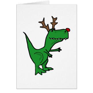 Lustiger Weihnachtsdinosaurier als Ren Karte