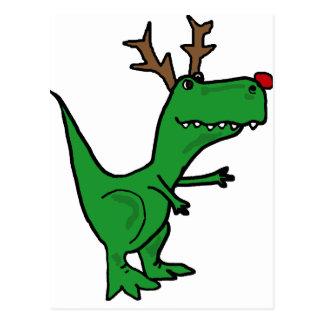 Lustiger Weihnachtsdinosaurier als Ren Postkarte