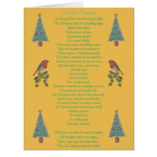 lustiger Weihnachtsgedichtrotkehlchen- und Riesige Grußkarte