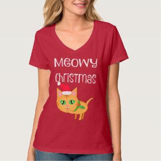 Lustiger Weihnachtskatzen-Liebhaber V-Hals T - T-Shirt