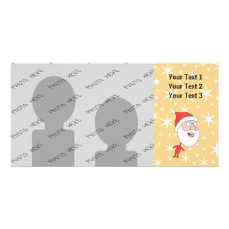 Lustiger Weihnachtsmann, auf Goldfarbsternchen-Ver Individuelle Foto Karten
