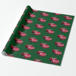 Lustiger Weihnachtsmann, der ein Mini fährt Geschenkpapier