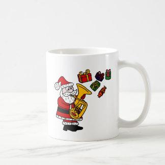 Lustiger Weihnachtsmann, der Tuba-Weihnachtskunst Kaffeetasse