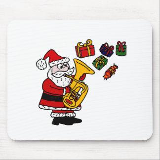 Lustiger Weihnachtsmann, der Tuba-Weihnachtskunst Mauspads