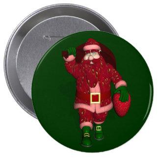 Lustiger Weihnachtsmann-ErdbeerBauer Runder Button 10,2 Cm